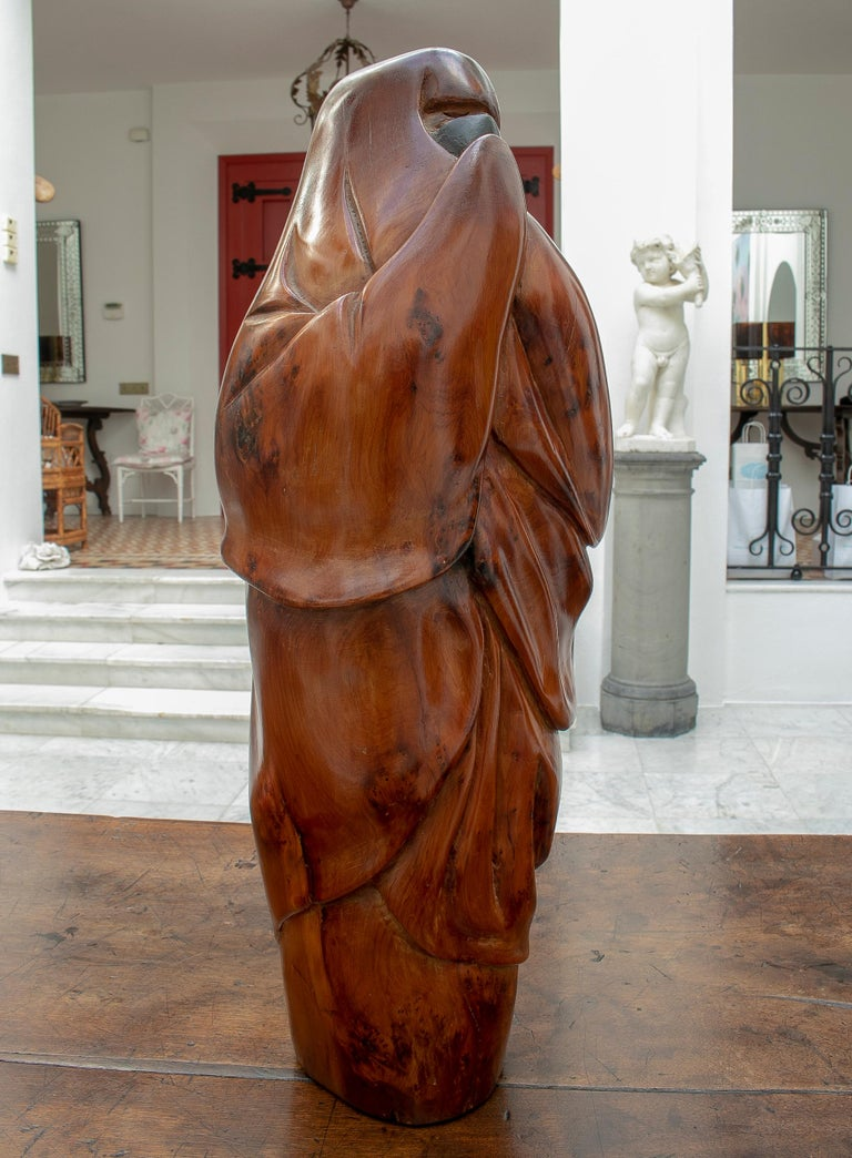 1950 French fruitwood abstract figurative sculpture of an Arab woman with niqab.