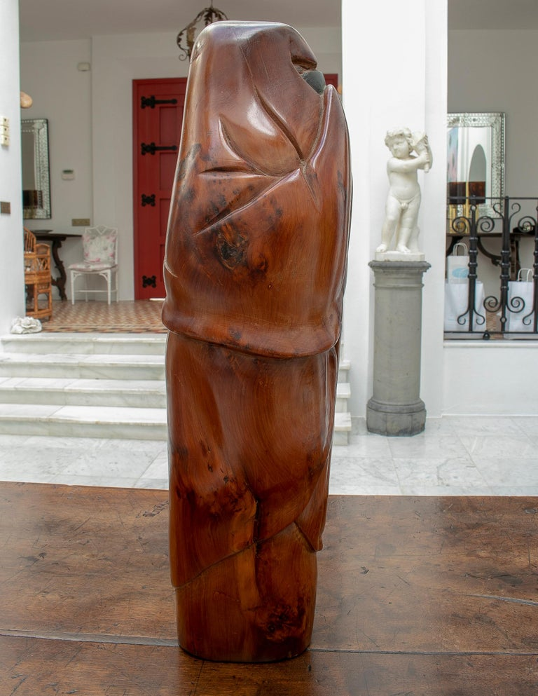 Spanish 1950s French Fruitwood Abstract Figurative Sculpture of an Arab Woman with Niqab For Sale