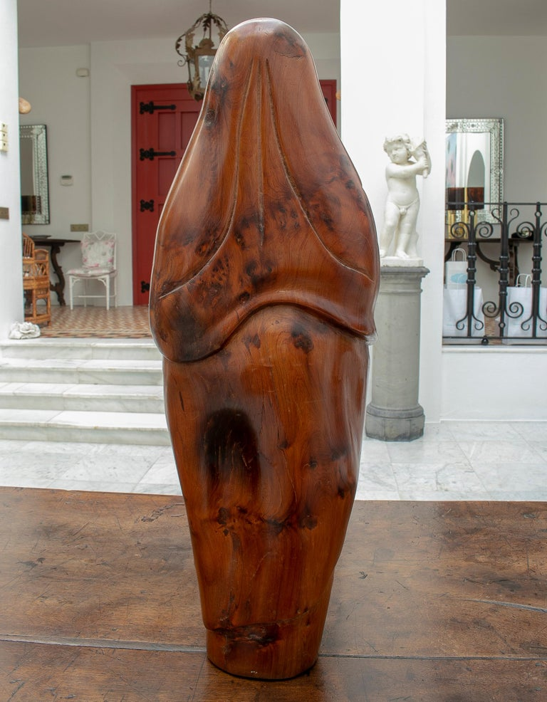20th Century 1950s French Fruitwood Abstract Figurative Sculpture of an Arab Woman with Niqab For Sale