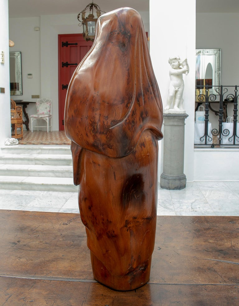 Wood 1950s French Fruitwood Abstract Figurative Sculpture of an Arab Woman with Niqab For Sale