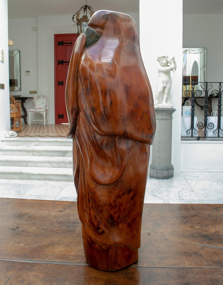 1950s French Fruitwood Abstract Figurative Sculpture of an Arab Woman with Niqab For Sale 1