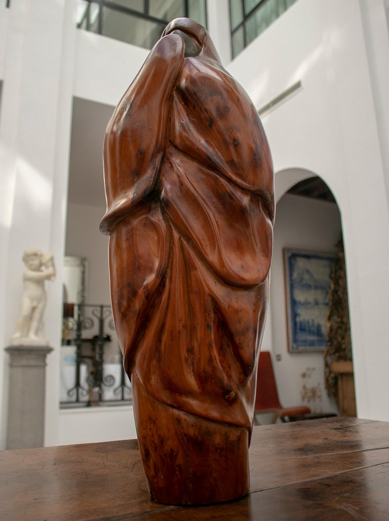 1950s French Fruitwood Abstract Figurative Sculpture of an Arab Woman with Niqab For Sale 2