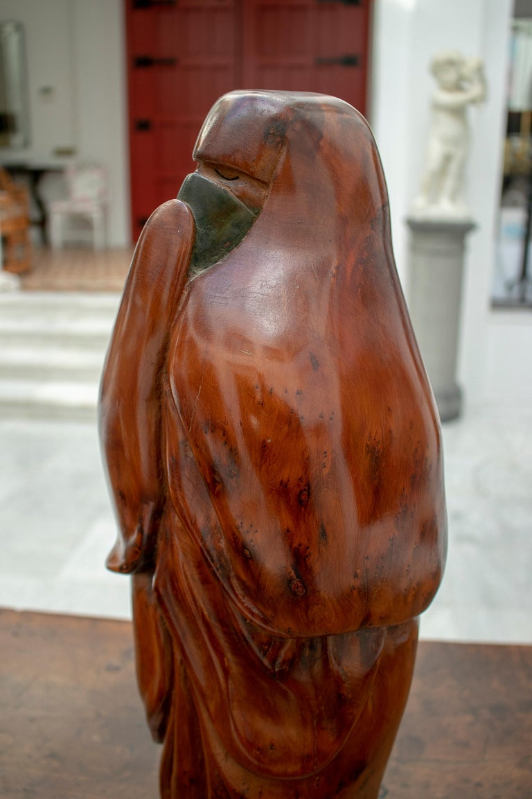 1950s French Fruitwood Abstract Figurative Sculpture of an Arab Woman with Niqab For Sale 3