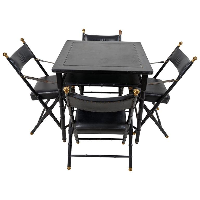 1950s French Game Table and Campaign Chairs