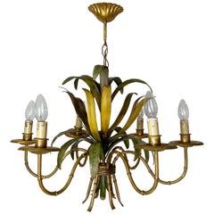 1950s French Gilt Bamboo and Leaf Tole Chandelier
