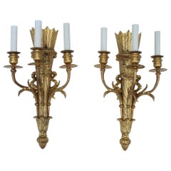 1950s French Gilt Brass Sconces