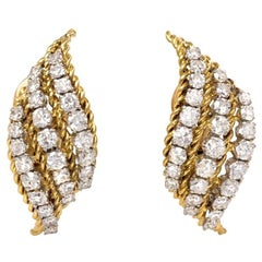 1950s French Gold and Diamond Stylized Flame Design Clip Earrrings