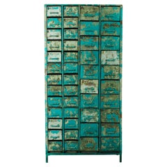 1950s French Industrial Filing Cabinet with Teal Patina