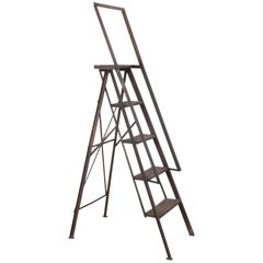1950s French Industrial Metal Ladder