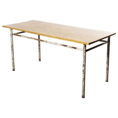 1950s French Industrial Rectangular Workshop Dining Table - Metal Base