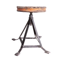 1950s French Industrial Swiveling Welders Stool