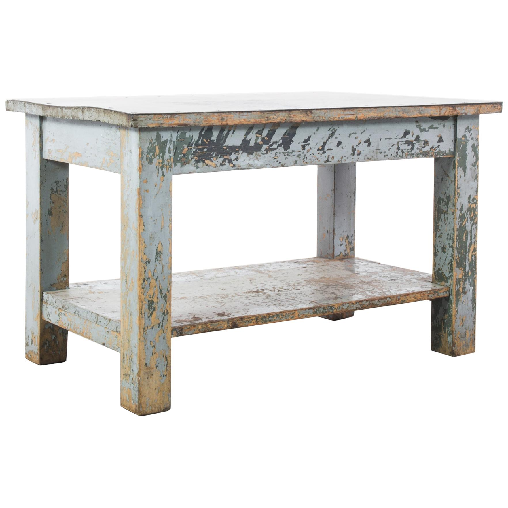 1950s French Industrial Table with Metal Top