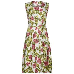1950s French Label Gevah Cotton Floral Rose Print Dress