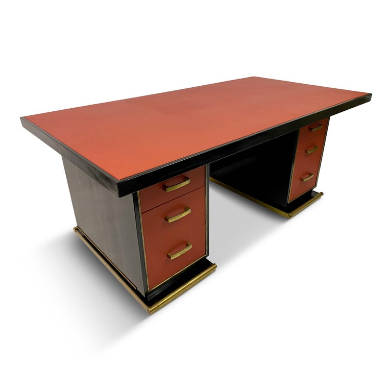 1950s French Leather and Brass Desk by Paul Dupré-Lafon For Sale 6