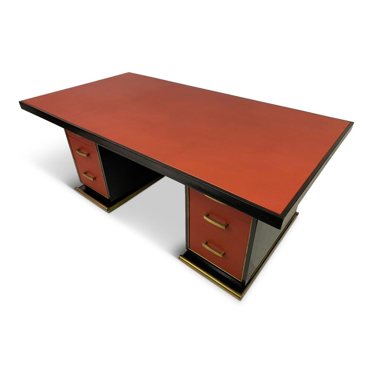 1950s French Leather and Brass Desk by Paul Dupré-Lafon For Sale 9