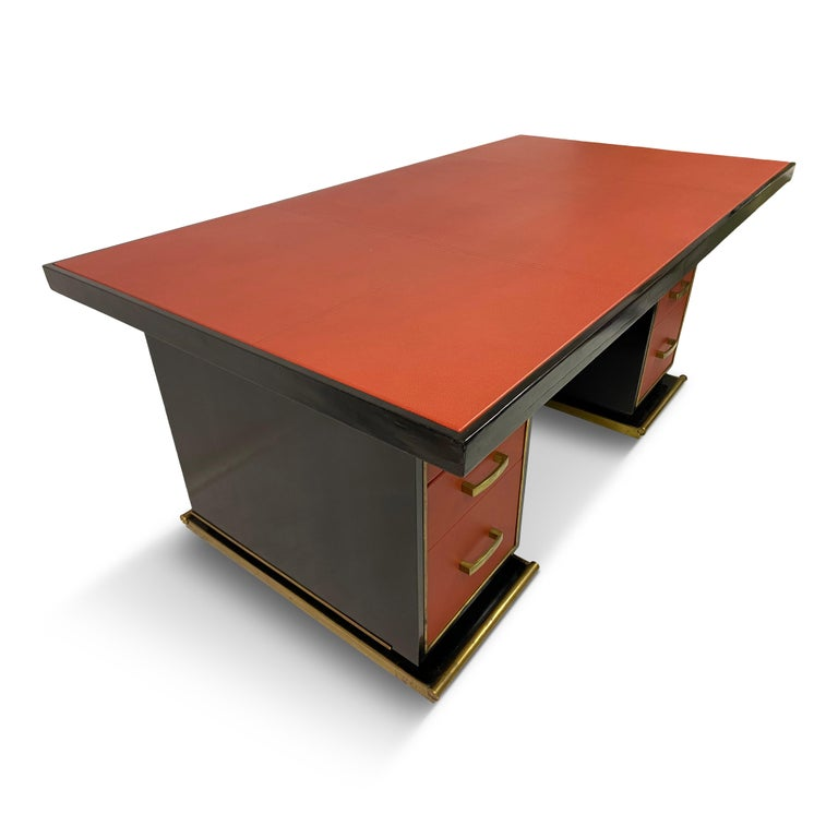 1950s French Leather and Brass Desk by Paul Dupré-Lafon For Sale 1