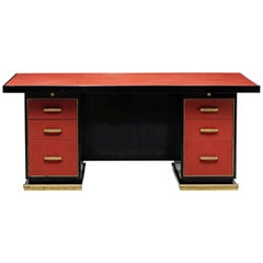 1950s French Leather and Brass Desk by Paul Dupré-Lafon