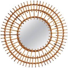 1950s French Mediterranean Coast Rattan Double Layered Sunburst Circular Mirror