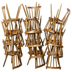 1950s French Midcentury Beechwood Stick Back Dining Chairs