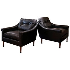 1950s French Mid-Century Modern Pair of Black Leather Armchairs