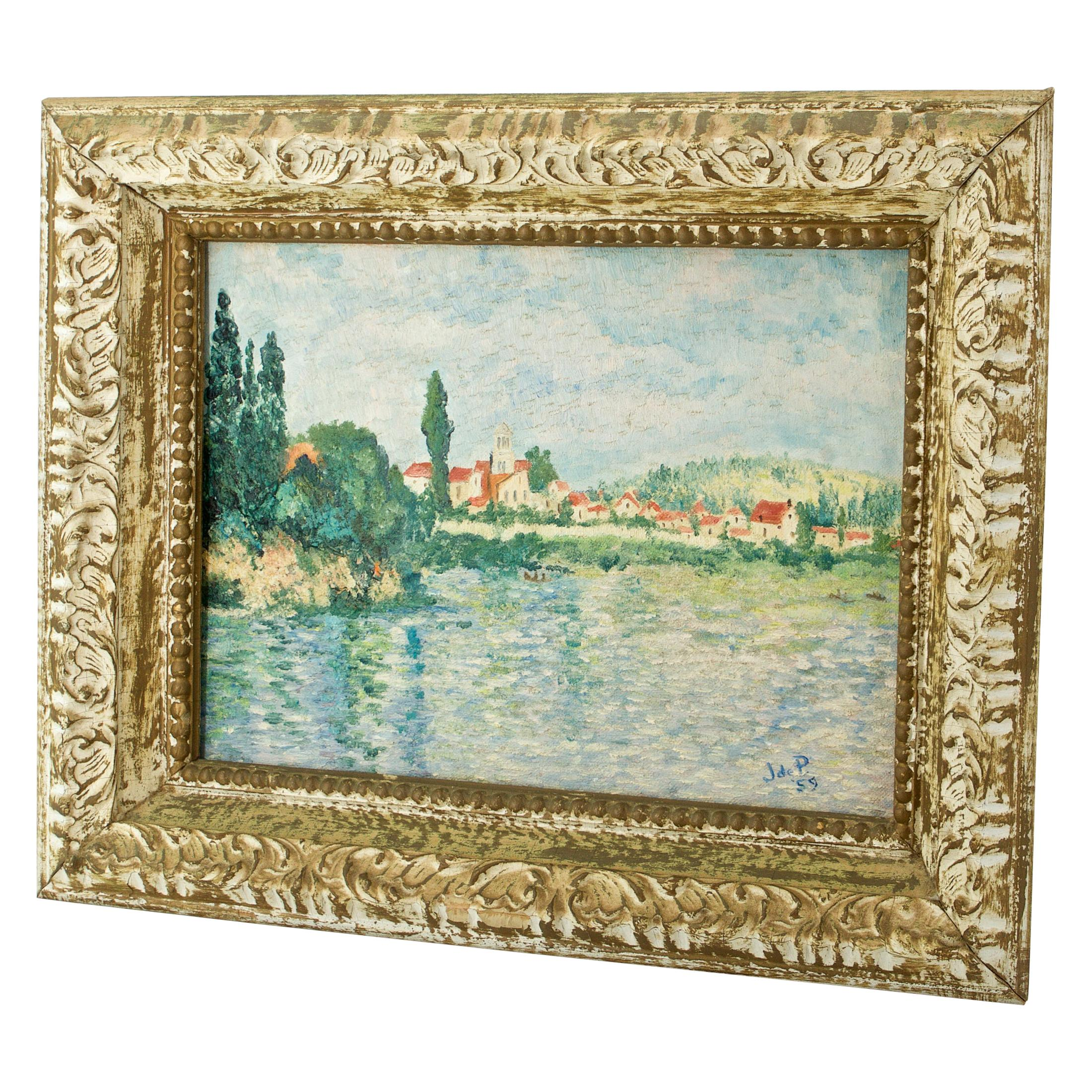 1950s French Midcentury Street Art Painting Claude Monet Vetheuil Seine River