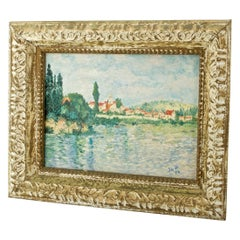 1950s French Midcentury Street Art Painting Claude Monet Vetheuil Seine River