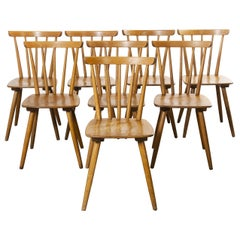 1950s French Midcentury Beechwood Stick Back Dining Chairs, Set of Eight