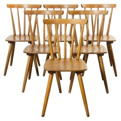 1950s French Midcentury Beechwood Stick Back Dining Chairs, Set of Six