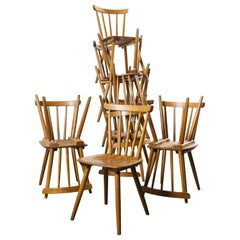 1950s French Midcentury Beechwood Stick Back Dining Chairs, Set of Twelve