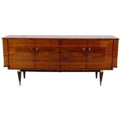 1950s French Midcentury Bowfront Sideboard in Lacquered Birch Boxwood Hardwood