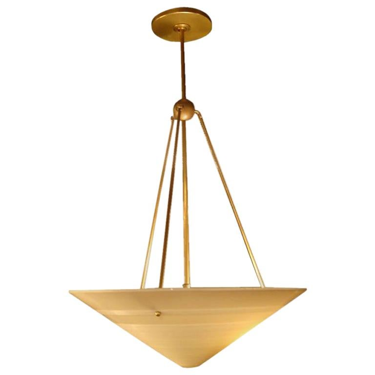 1950s French Milk Glass and Brass Hanging Light Fixture