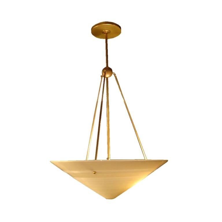 1950s French Milk Glass & Brass Hanging Light Fixture For Sale