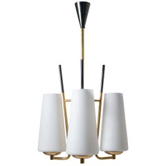 1950s French Modernist Chandelier, Satin Glass, Gilt and Patinated Brass