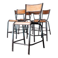 1950s French Mullca High Dining, Bar Chairs, Set of Seven