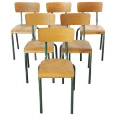 1950's French Mullca Vintage Stacking School - Dining Chairs - Aqua Model 511 -