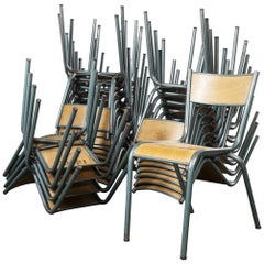 1950s French Mullca Vintage Stacking School, Dining Chairs
