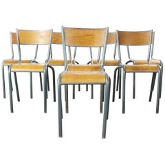 1950s French Mullca Vintage Stacking School, Dining Chairs, Set of Eight