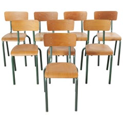 1950's French Mullca Vintage Stacking School - Dining Chairs - Set of Eight
