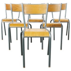 1950s French Mullca Vintage Stacking School, Dining Chairs, Set of Six