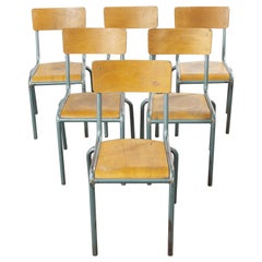1950's French Mullca Vintage Stacking School - Dining Chairs - Set Of Six