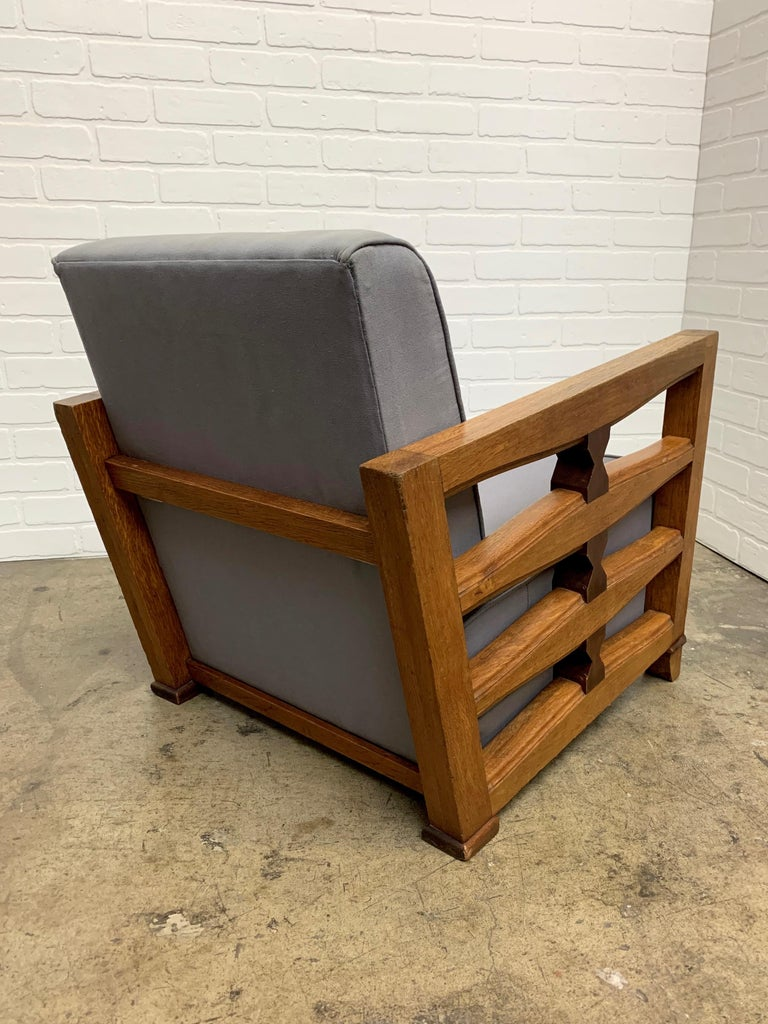 Mid-Century Modern 1950's French Oak Children's Lounge Chair For Sale