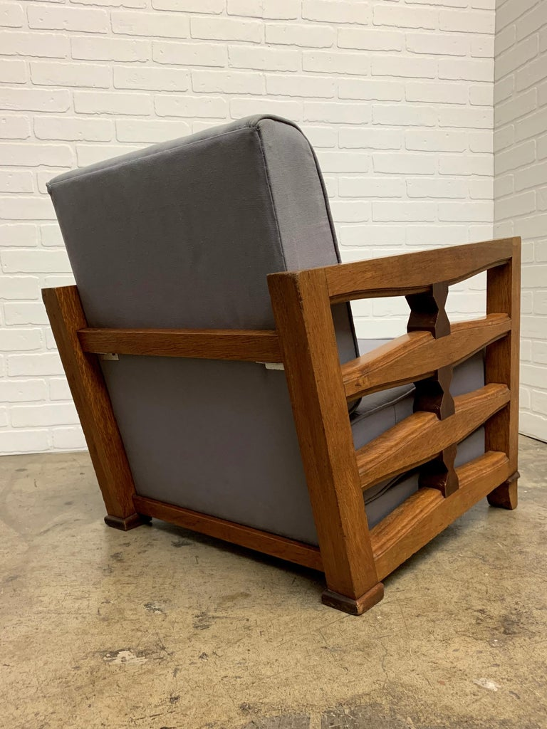 20th Century 1950's French Oak Children's Lounge Chair For Sale