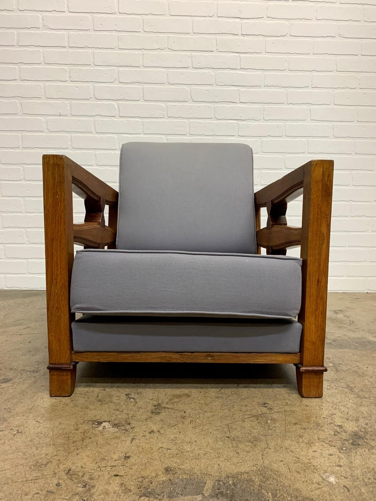 1950's French Oak Children's Lounge Chair For Sale 3