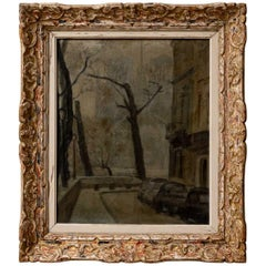 1950s French Oil Painting of a Parisian Scene in a Beautiful Carved Wood Frame