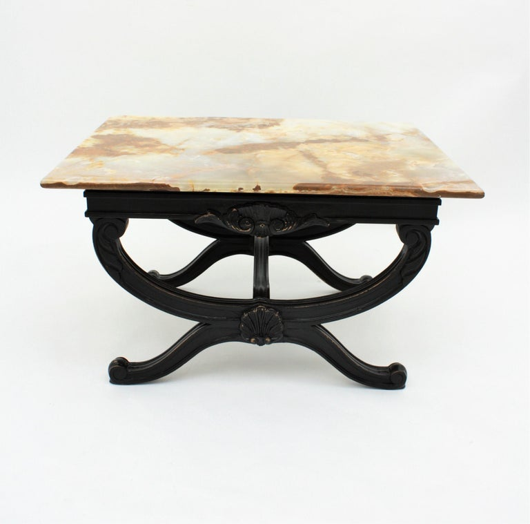 Modern Black Coffee Table For Sale: French Mid-Century Modern Onyx And Black Patinated Wood
