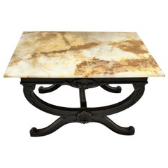 French Mid-Century Modern Onyx & Black Patinated Wood Coffee Table / Side Table