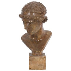 1950s French Painted Plaster Bust