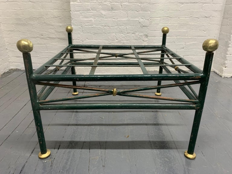 1950s French Painted Wrought Iron Bench In Good Condition For Sale In New York, NY