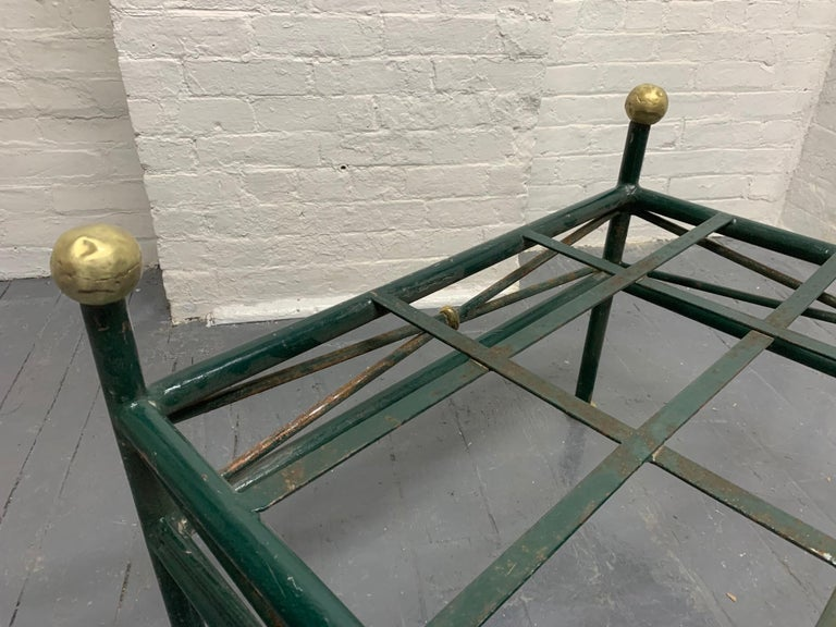 Brass 1950s French Painted Wrought Iron Bench For Sale