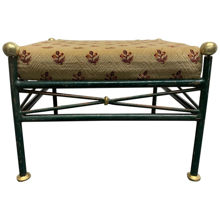 1950s French Painted Wrought Iron Bench For Sale